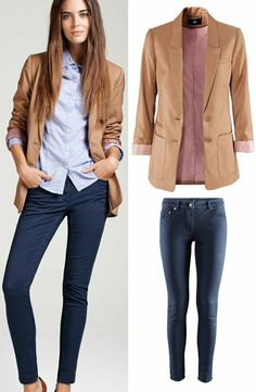 Beige jacket, blue shirt and dark jeans. would work great with a pair of red pumps.