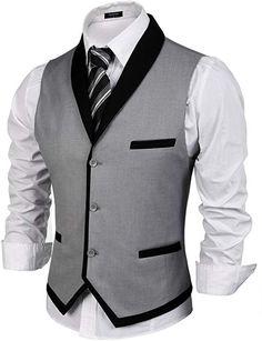 Men's Clothing, Suits & Sport Coats,Men's V-Neck Sleeveless Slim Fit Vest-Jacket Business Suit Dress Vest - Grey - # Mens Suit Vest, Vest Jacket, 1920s Mens Clothing, Men's Clothing, Clothing Accessories, Wedding Vest, Gilet Costume, Dress Suits, Dress Vest