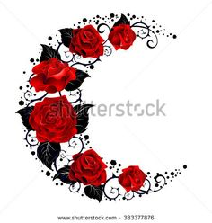 Mystical moon painted black stems and red roses on a white background. Tattoo style.
