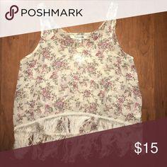 Fringe Tank top Forever 21 fringe rose print shirt, semi-sheer Forever 21 Tops Tank Tops