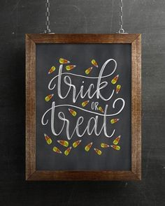 Chalkboard Trick Or Treat Candy Corn Halloween Art Print * tafel süßes oder saures süßes mais halloween kunstdruck * * Prints thanksgiving art