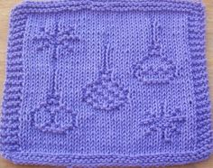 DigKnitty Designs: Christmas Ornaments Knit Dishcloth Pattern