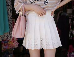 Dress up confidence! 10's trendy style maker 66girls.us Floral Eyelet Skort (DGZZ) #66girls #kstyle #kfashion #koreanfashion #girlsfashion #teenagegirls #fashionablegirls #dailyoutfit #trendylook #globalshopping