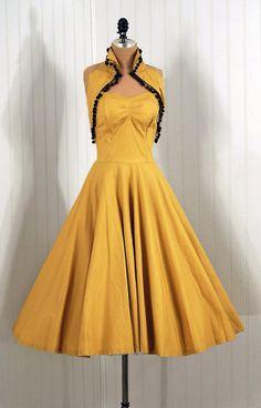 1950's Vintage Joni's Party Sun Dress with pom-pom detail.