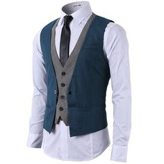 H2H Mens Formal Slim Fit Premium Business Dress Suit Button Down Vests ❤ liked on Polyvore featuring men's fashion, men's clothing, men's outerwear, men's vests, mens formal wear vests, mens formal vest, mens slim fit outerwear and mens slim fit vest