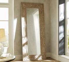 Sabine Floor Mirror #potterybarn Lean on wall, place vanity table in front of it as seen in design mags.