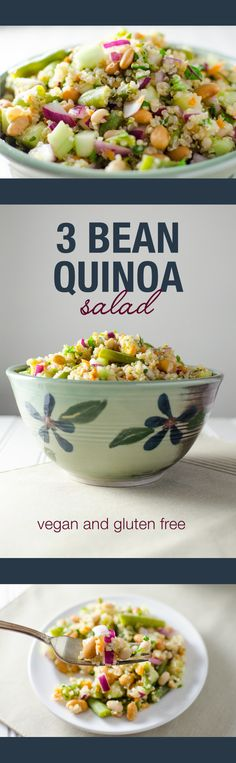 3 Bean Quinoa Salad with a lime dressing - this vegan and gluten free recipe makes a great side dish or a light main meal. All clean eating ingredients are used to Make this healthy recipe. Quinoa Dishes, Vegan Dishes, Whole Food Recipes, Cooking Recipes, Quinoa Salat, Vegetarian Recipes, Healthy Recipes, Lime Dressing, Snacks Für Party