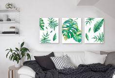 Tríptico moderno decorativo con hojas. Encontrá m´s en nuestra web http://auradiseno.com #greenleaves #cuadros #hojas #decoracion #cuadros modernos