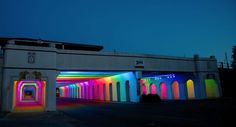 This is lovely. Light Rails is a permanent LED light art installation.