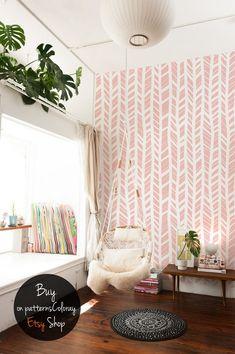 Self adhesive Herringbone removable wallpaper, Peel and stick wall covering, Herringbone wall #35