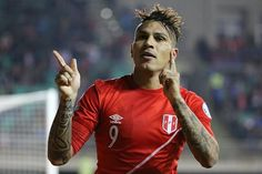 Paolo Guerrero of Peru celebrates after scoring the opening second goal of his team during the 2015 Copa America Chile quarter final match between Peru and Bolivia at German Becker Stadium on June 2015 in Temuco, Chile. Copa Centenario, Copa America Centenario, Volleyball, Basketball, Bolivia, Tennis, Wrestling, Sports And Politics, Football