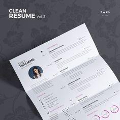 Clean Resume Vol. 3  Word and Indesign by #TheResumeCreator on Etsy  #Lebenslauf #Cv #CurriculumVitae #Resume