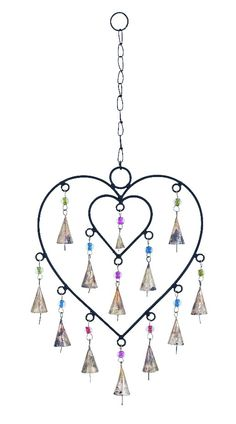 Double Heart Design Wind Chimes with Metal Bells Patio Accent Home D |lamp | lighting, furniture | accents, home decor | accessories, wall decor, patio | garden, Rugs, seasonal decor,garden decor,patio decor