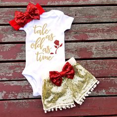 Tale As Old As Time Bodysuit, Baby Girl, Girls, Toddler, Newborn, New Baby, Princess, Rose, Flower, Beauty, Beast, Baby Shower, Gift, Bow