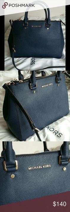 """Michael Kors Navy Sutton Satchel Like new! Michael Kors Navy Saffiano Leather Satchel. Measures: 12.5""""W x 9""""H x 5""""D. Shoulder strap 18""""-20"""". Dust bag included. Michael Kors Bags Satchels"""