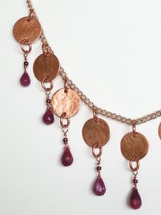 Ruby and Copper Discs Necklace Fashion Jewelry by MishaLittlejohn