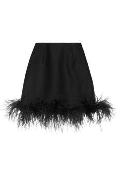 Lanvin | Feather-trimmed wool-blend mini skirt