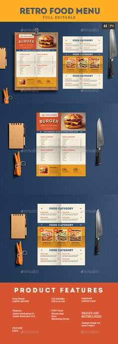 Retro Food Menu Flyer Template PSD, AI Illustrator
