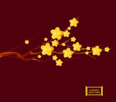Chinese New Year 2016, Japanese golden geometrical plum blossom vector art illustration