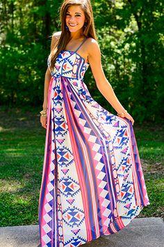 Bright Tribal Maxi - Love! :: Maxi Dress:: Tribal print:: Summer Maxi Dress
