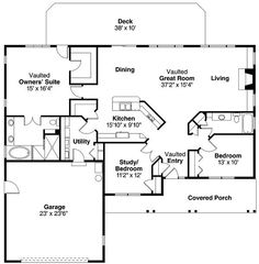 Reverse floor plan so garage on right. Need laundry room / lockers/ bench then goodFirst Floor Plan of Cape Cod Contemporary Cottage Country Ranch House Plan 59418 Best House Plans, Dream House Plans, Small House Plans, House Floor Plans, Simple Ranch House Plans, Simple Home Plans, Ranch Floor Plans, Barndominium Floor Plans, Barndominium Texas