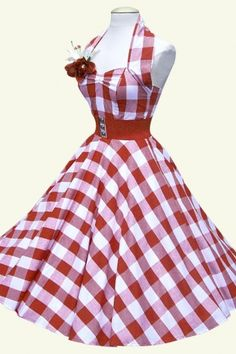 1950s retro swing dresses - Limited collection! 50s Retro halter gingham red swing dress