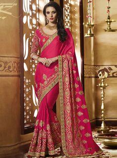 Magenta Art Silk Patch Lace Work Saree 101308