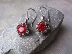 Sterling Silver Copper Red Glass Little Earrings Boho Rustic