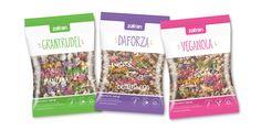 Diseño de packaging para granolas de Zafran (Grantrudel - Daforza - Veganola), por http://soytandem.com.ar