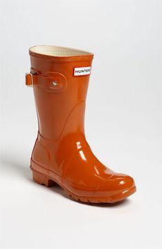Hunter 'Original Short' Gloss Rain Boot (Women)   Burnt Orange