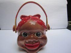 Black Americana Very Rare BASKET HANDLE Mammy Head