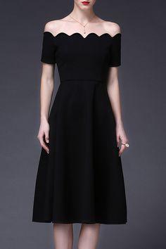 Off The Shoulder Scalloped Little Black Dress
