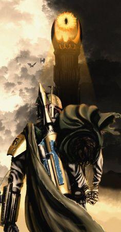Ilustración   Star Wars + Lord Of The Rings   Si Saurón hubiera enviado al caza recompensas…