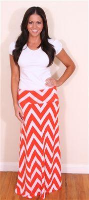 Orange and White Chevron Maxi Skirt, Modest Skirt, maxi, maxi skirt, chevron, chevron print, church skirt, church clothing, lds clothing, long skirt, chevron print maxi skirt