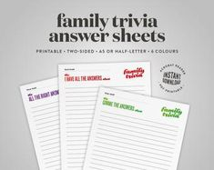 Invitation and family history templates by FuzzyInkStationery Standard Business Card Size, Family Trivia Questions, Printable Cards, Printables, Bookmark Template, Custom Fonts, Card Sizes, Family History