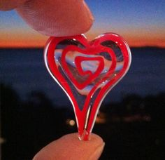 An #Inverted #Sunset as seen through my #Red #Lampwork #Glass #Heart - Many #Hearts #Within Hearts - Day7 - Enjoy!