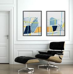 Geometric art ABSTRACT painting 40X28 two panels on by DUEALBERI