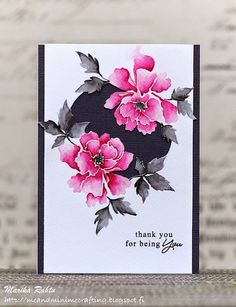 handmade card from Me and Minime crafting ... Asian feel ... dramatic hot pink with black and grays ... watercoloring ... fabulous!