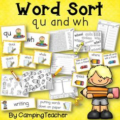 Word Sort wh and qu Story Tomas Rivera Friend Quiz, First Grade Activities, Word Sorts, Recording Sheets, Activity Sheets, Some Cards, Word Families, Vocabulary Words, Literacy Centers