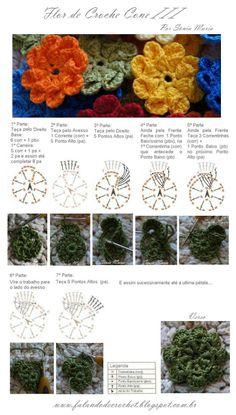 FLOR DE CROCHE CONE III COM GRÁFICO E PASSO-A-PASSO en http://falandodecrochet.blogspot.com.br/2012/07/flor-de-croche-cone-iii-com-grafico-e.html