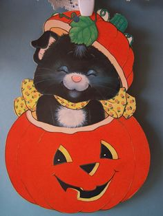 Vintage Halloween Decoration - Cat Popping Out of Jack - o - Lantern