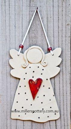 Australian handmade ceramic angel from www. - Australian handmade ceramic angel by www. Clay Christmas Decorations, Christmas Clay, Christmas Angels, Handmade Christmas, Angel Crafts, Christmas Crafts, Christmas Ornaments, Pottery Angels, Ceramic Angels