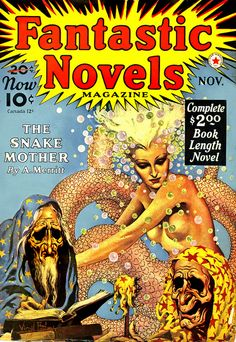 The Snake Mother. Cover for Fantastic Novels Magazine, Cover art by Virgil Finlay The Purple, Frank Frazetta, Pulp Magazine, Magazine Art, Magazine Covers, Arte Pulp Fiction, Fiction Novels, Science Fiction, Wolf
