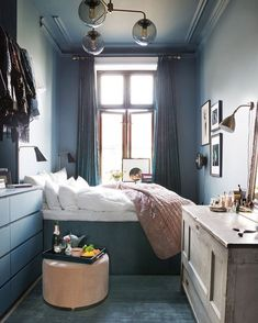 Bedroom Ideas for Small Rooms Cozy Blue. Fresh Bedroom Ideas for Small Rooms Cozy Blue. 46 the Do This Get that Guide Dark Accent Wall Bedroom Small Apartment Bedrooms, Small Room Bedroom, Cozy Bedroom, Small Rooms, Small Apartments, Tiny Bedrooms, Narrow Bedroom Ideas, Modern Bedroom, Contemporary Bedroom
