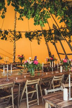Wedding Decor - Rustic Glam Tipi Wedding With Pink Peony Bouquet & Bride In Leather Jacket Planned by Gordon Malone Images From Claire Penn Photography