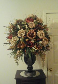 Floral Arrangement, Large Tuscan Silk Floral Centerpiece, SHIPPING  INCLUDED, Elegant Luxury Tall Foyer