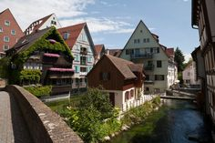 Ulm, Germany - The Fishermen's and Tanners' quarter is idyllically situated at the place where the River Blau flows into the Danube