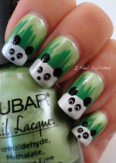 Panda!!! Cute nail art -- Curated by: Nicola's Laser Studio | #102-1289 Ellis Street Kelowna BC V1Y 9X6 | 2508625152