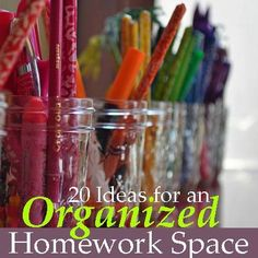 20 Ideas For an Organized Homework Space