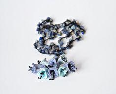 Dark Blue Natural Stone, Blue and Gray Bellflowers, Crochet Necklace, Beadwork